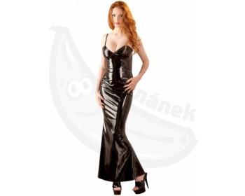 Fotka 1 - Dlouhé černé lakované šaty Black Level