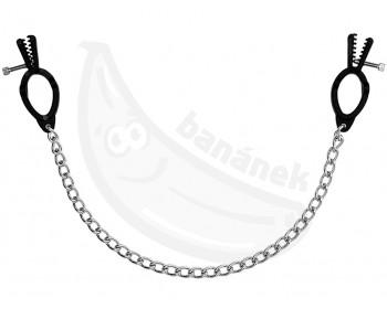 Fotka 1 - Černé plastové svorky na bradavky spojené řetízkem