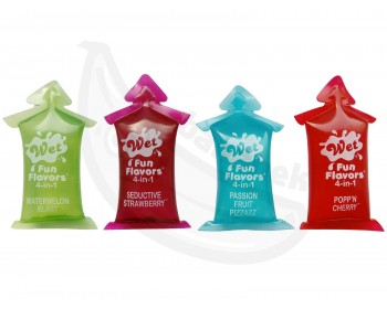 Fotka 1 - Ovocné lubrikační gely 4v1 Wet Fun Flavors 4 ks