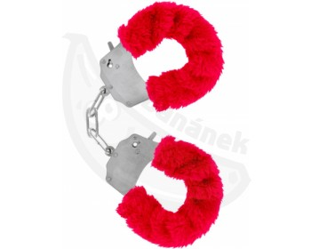 Fotka 1 - Červená kovová pouta na ruce s plyšovým kožíškem