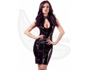 Fotka 1 - Černé lakované sexy šaty s odhaleným dekoltem
