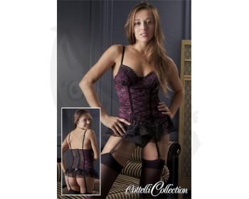 Fotka 1 - Košilka Mia s volánky a podvazky černo fialová