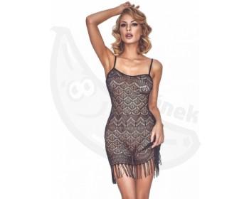 Fotka 1 - Černé erotické krajkové šaty ve vintage stylu