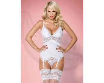 Fotka 1 - Bílý erotický top v setu s tangy bílá