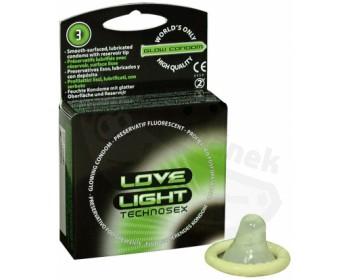Fotka 1 - Svítící kondomy (3 ks) Love Light Technosex