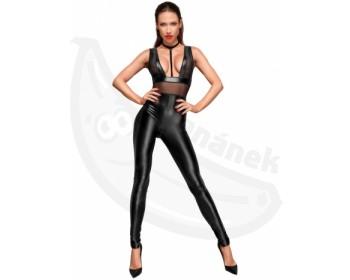 Fotka 1 - Černý sexy lesklý overal s průsvitnými vsadkami