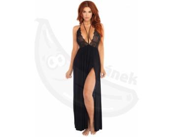 Fotka 1 - Dlouhé černé sexy šaty s krajkovým topem