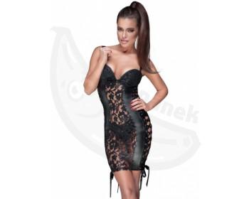 Fotka 1 - Černé lesklé erotické minišaty Noir