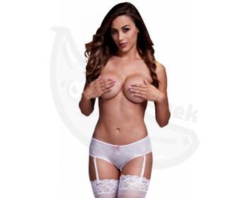 Fotka 1 - Bílé erotické kalhotky s podvazkovými pásky